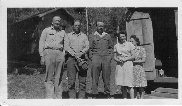 People, Group, Ty Camp, LaBarge, Wy. (L to R) Roland Robison, Ted Moffat, Blain Moffat, Dorothy Moffat and Leah (Wright) Moffat
